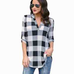 Plaid 2018 Fashion Long Sleeve Women Blouse Shirt V-Neck Plus Size 5XL