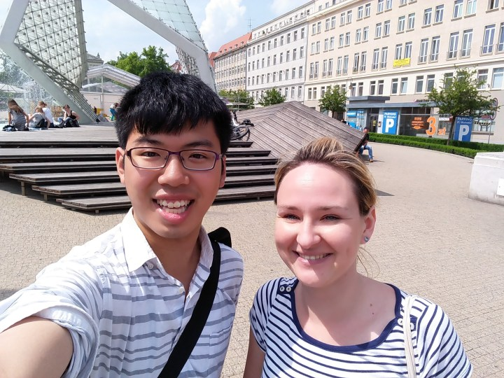 Enjoying a nice day with my Polish tour guide in Poznań!