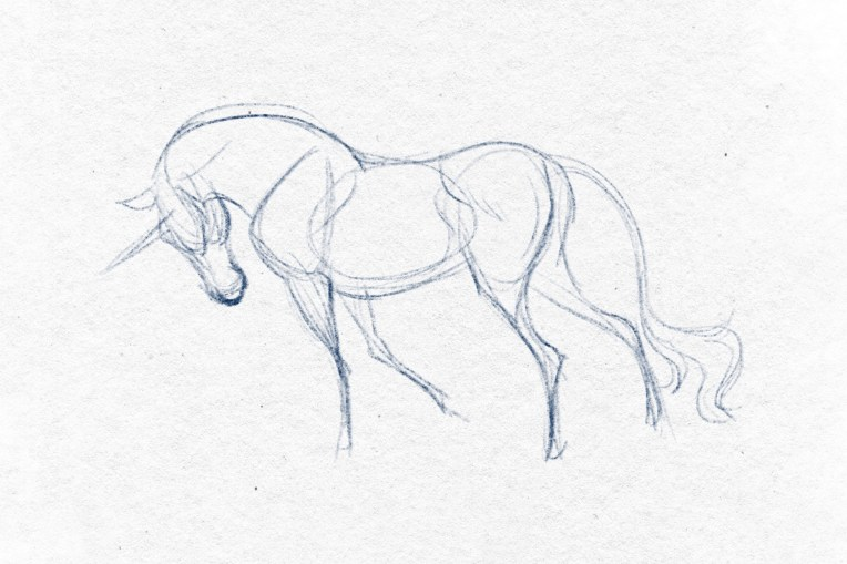 A digital sketch of a unicorn.