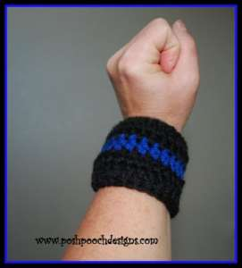 Blue Line Police Flag Bracelet by Posh Pooch Designs