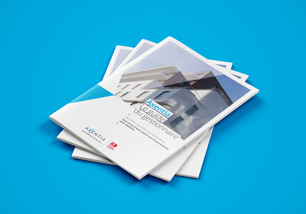 Le guide pratique s'inscrit dans l'identité visuelle précédemment créée par l'agence pour Axentia