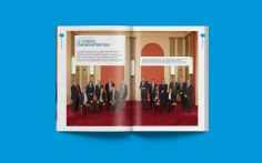 Certaines doubles-pages sont presque uniquement visuelles, comme ici avec la photo du conseil d'administration