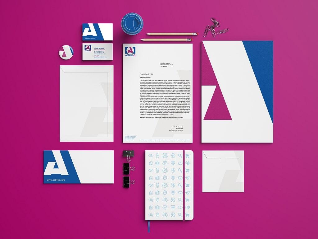 L'agence a imaginé un système graphique complet à partir du logo existant d'Activeo.