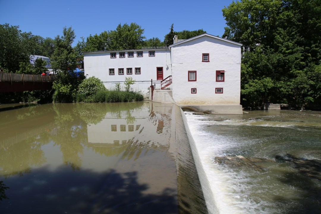 A picture of the moulin Legare the oldest functional water powered mill in North America. The mill produces 4 tons of wheat and buckwheat flour annually.