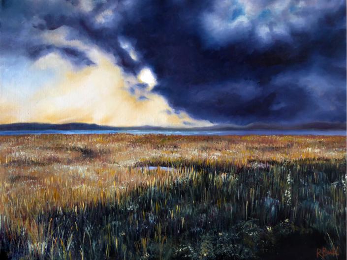 oil painting landscape estuary grass river