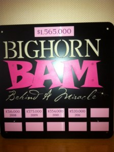 Sign for Bighorn BAM charity event.