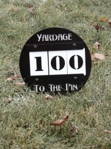 Yardage to the Pin Sign --Grand Cypress