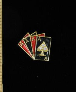 31ebb7243de Vintage 5 Card Stud Vegas Casino 4 Aces Poker Pin Brooch Women's Jewelry