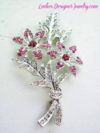 989c31e0a Vintage Art Deco Pink Red Crystal Pave Diamond Rhinestone Flower Bow  Bouquet Pin Brooch, Wedding