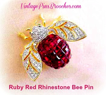 d39a8c83454 Vintage Crystal Diamond Ruby Red Garnet Rhinestone Bumble Bee Designer Pin  Brooch For Women, Baguette