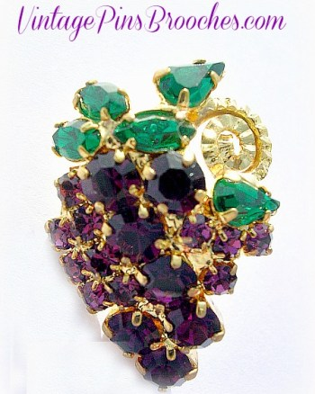 Vintage Purple Amethyst Emerald Green Tac Pin Cluster Of
