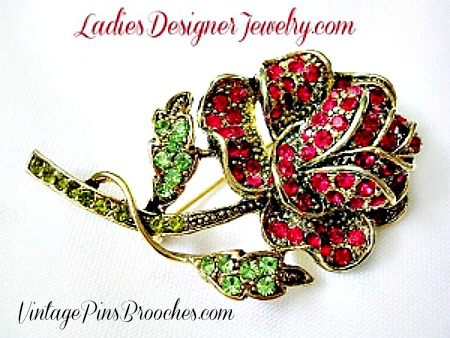 2c5f56b6c52 Vintage Large Ruby Garnet Olivine Rhinestone Rose Pin Brooch Jewelry, Women's  Brooches Pins Roses