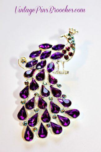 e837c7ad2f1 Vintage Purple Amethyst Crystal Aurora Borealis Rhinestone Peacock Bird  Animal Brooch Pin, Women's Designer Fashion