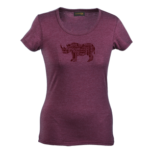 Rhino Message Shirt womens-Burgandy