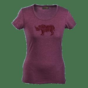Rhino Message Shirt womens-Burgandy