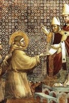 Francis presents his rule to Pope Innocent III