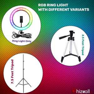 New RGB LED Multi Colors Ring Light With and Without Tripod Stand