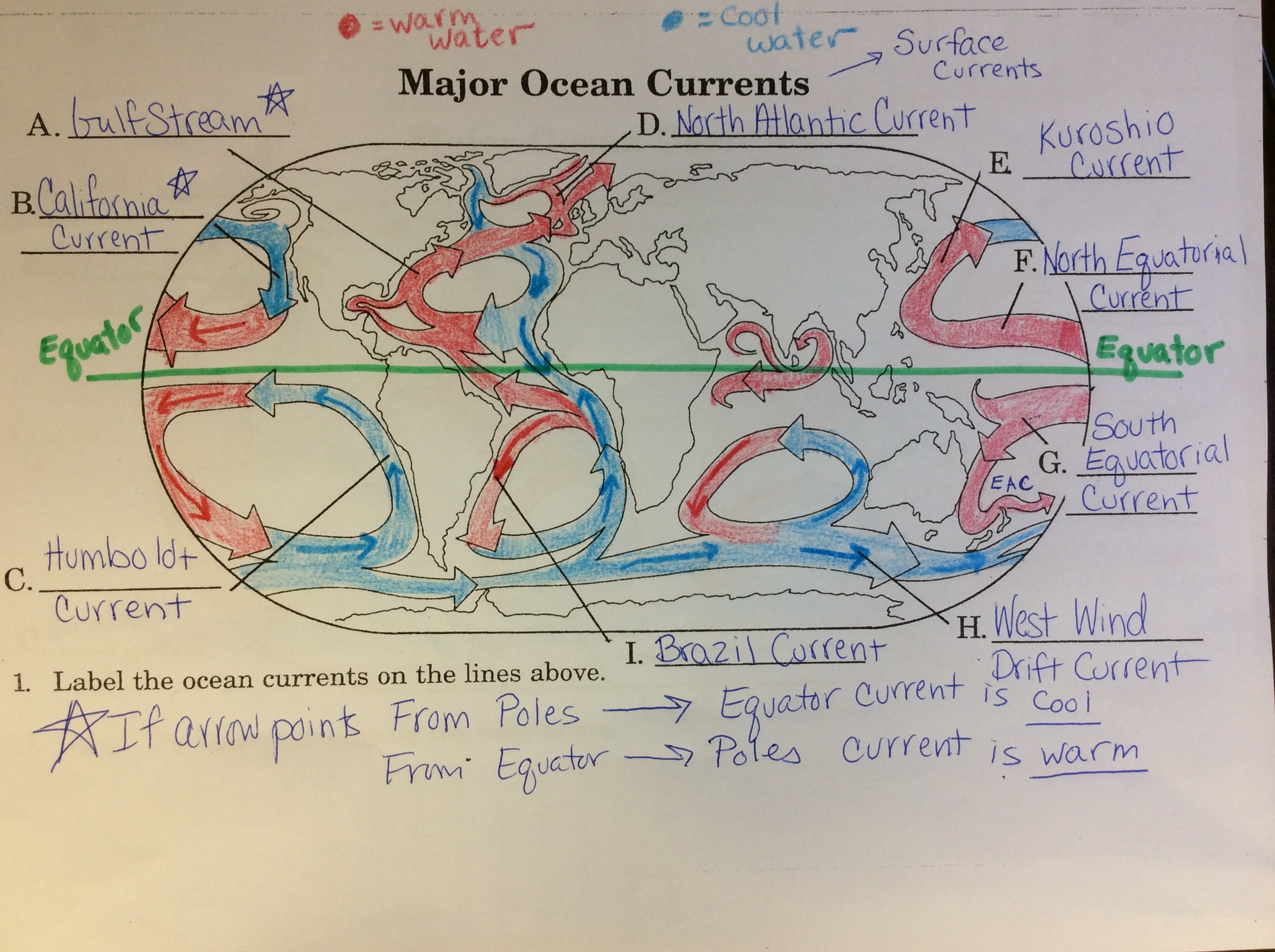 Surface Current Worksheet Middle School