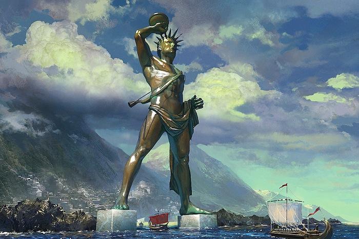 representation du colosse de Rhodes