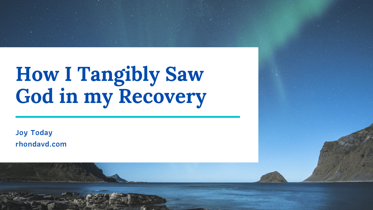 How I tangibly saw God in my recovery thru the people and things he gave me proved to me that God is always at our side, fighting for us in tangible ways.