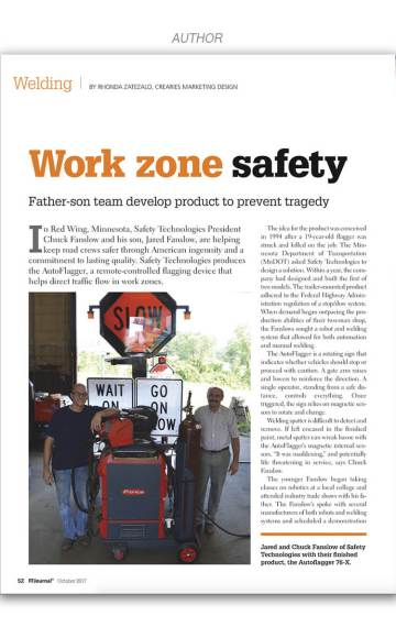 Work Zone Safety, Oct 2017 FF Journal