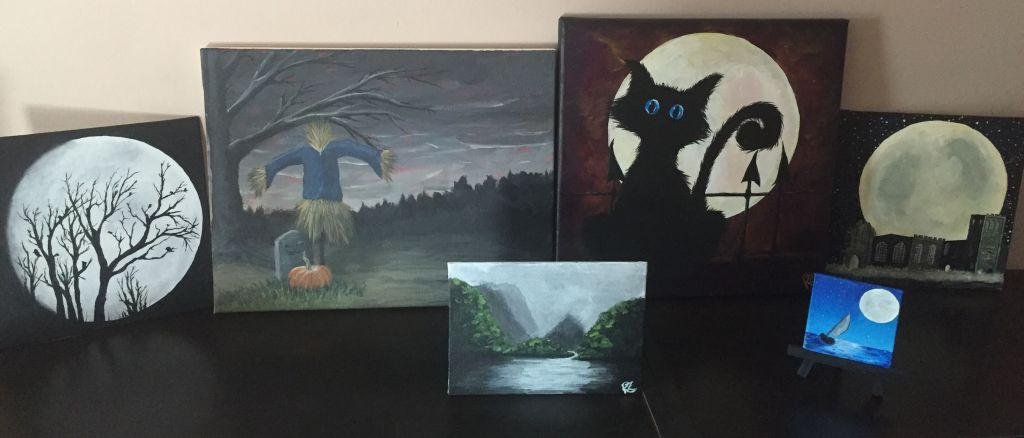 Several acrylic paintings.