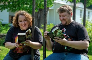 Rhonda reading with her husband