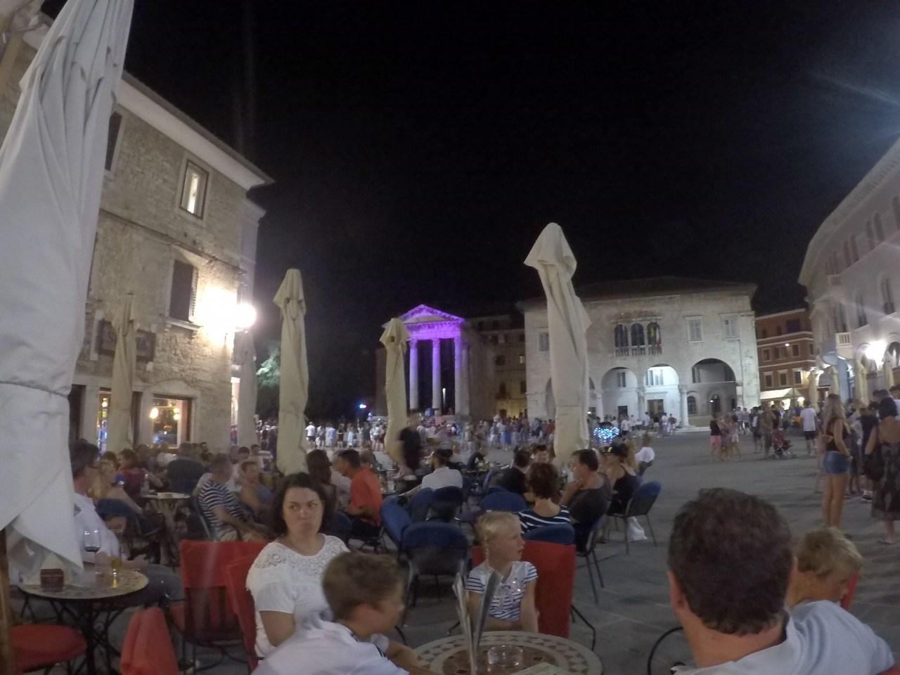 Pula main square at night