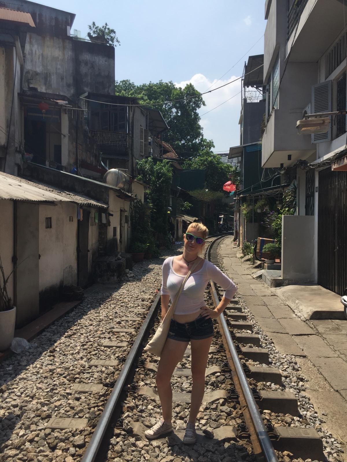 The train track shot in Hanoi