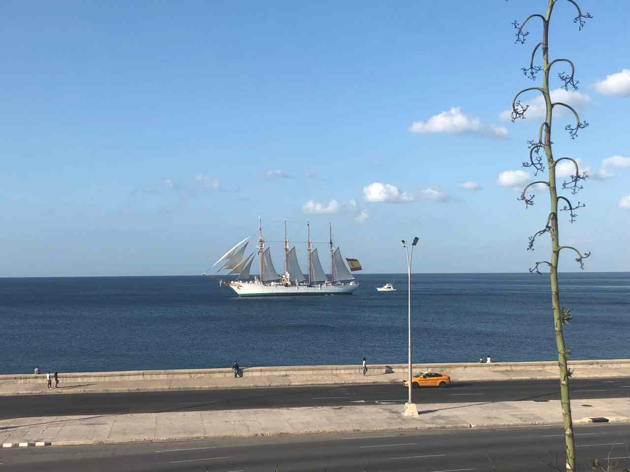 Old sailing boat by the Malecon