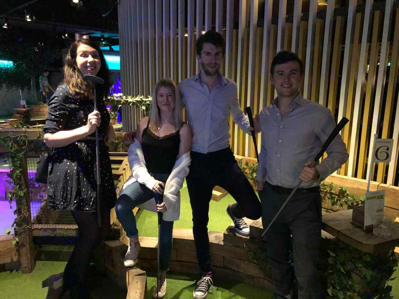 Group at Swingers golf in the City