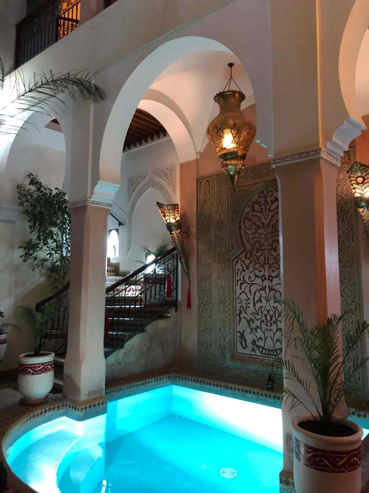 riad oumaima with pool at night in Marrakech
