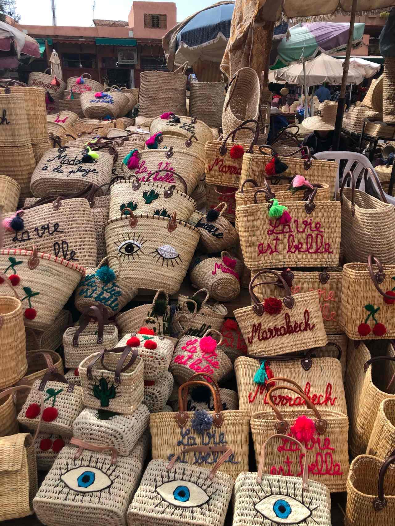 Wicker bags for sale Marrakech souks