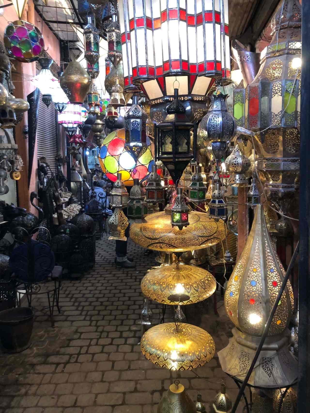 Moroccan lanterns in the Marrakech souks
