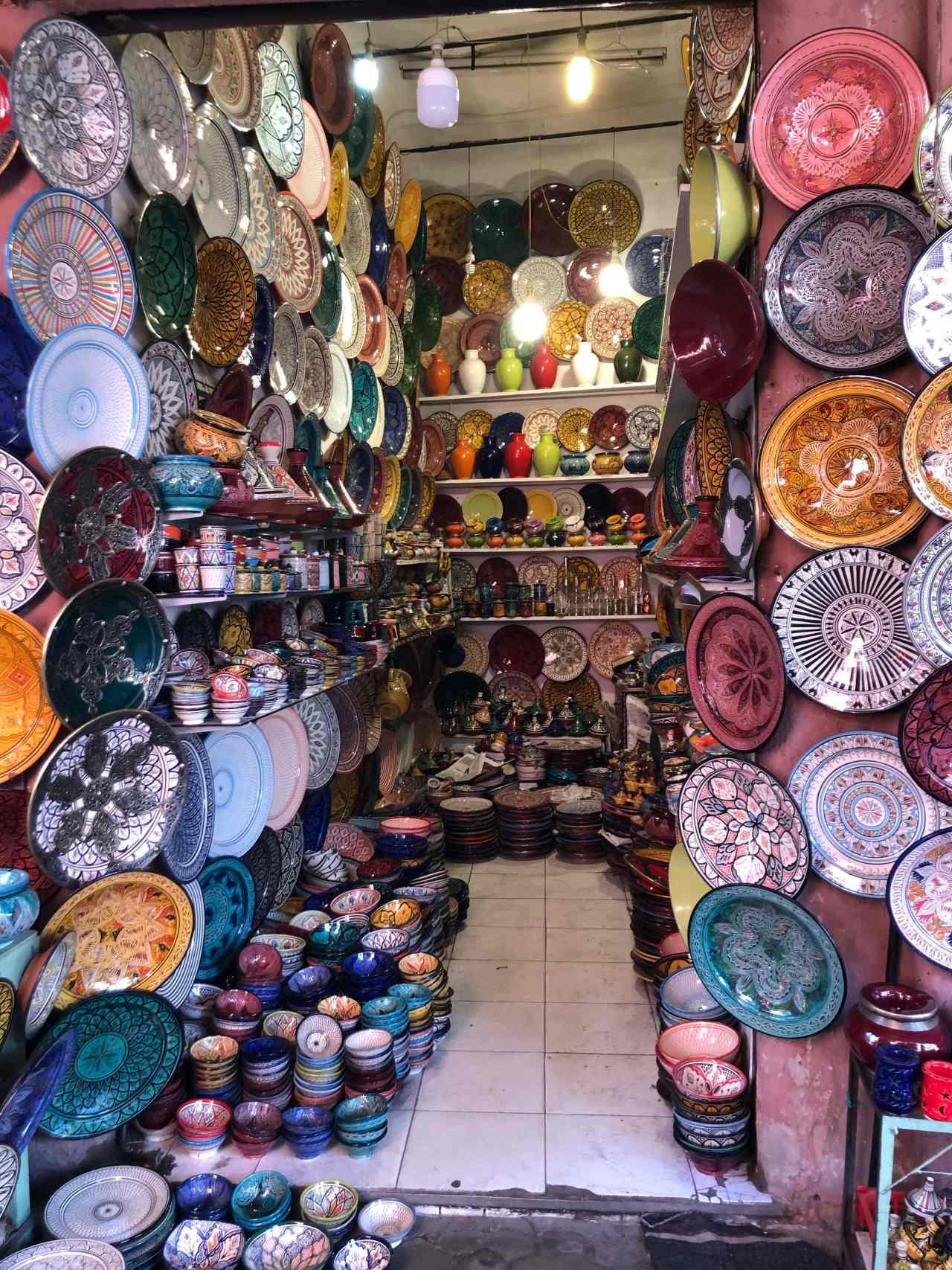Colourful pottery shop Marrakech souks