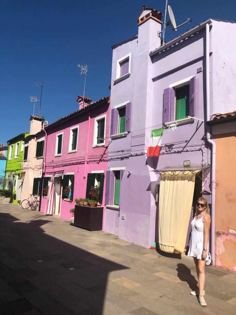 Burano colourful house italian flag