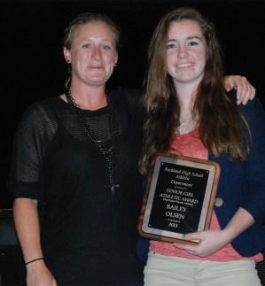 Girl's Varsity Coach Diana Mitchell with Senior Bailey Olsen