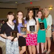 Art Award winners Kylie McKenna, Danielle Hill, Georgia Panagiotidis and Sydney Bissonette with Art teacher, Mrs. Gibson.