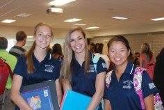 Mentors Danielle Whitcher, Katie Delorey, and Megan Khang meet their freshmen mentees at the first meeting on September 11.