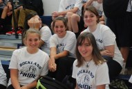 Some of the freshman girls loving their second rally.