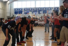 Seniors and teachers playing a game.