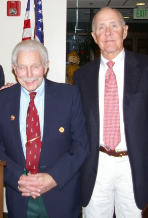 Long time track and cross country coach, Charlie Leverone introduced Paul Hoss, Class of 1965. Paul and his brother Peter were outstanding runners at RHS. Leverone described how they got their start chasing the animals on their 20 acre farm on Summer St.
