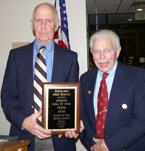 Peter Hoss with former RHS track and cross country coach Charlie Leverone who inducted Peter and his brother Paul, Class of 1965, into the RHS Athletic Hall of Fame.