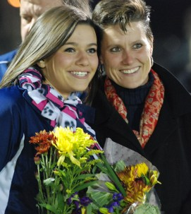 Senior cheerleading captain Sarah Fitzgerald and her mom.