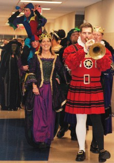The royal court is led by Mr. Alan Cron, Sackbutt player, Queen Trish Fleming and King John Retchless