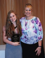 Freshman Emily Delaney received an Academic Achievement Award in both Business and Social Studies presented to her by Assistant Principal Susan Patton.