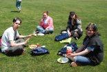 Enjoying a picnic lunch