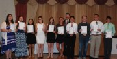 Sophomores who received Academic Excellence Certificates and Academic Letters are l to r: Shannon Lindhahl, Sydney Wells, Luana Lima, Lauren Zaremba, Noelle Atkins, Kaylee Patten, Sean Vo, Evan Murphy, Michael McPeck and Michael Belmonte with Dr. Cron in the back.