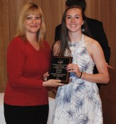 Lily Matson is the grade 9 academic achiever in English, Health, and History/Social Science, presented by Guidance Director, Melanie Shaw.
