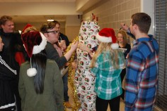Student Services works on their gift.